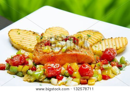 Deep fried carp in sweet-sour sauce chinese style dish,The food of a luxury hotel.