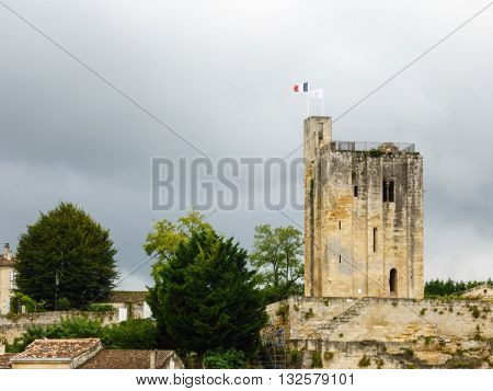 View of St. Emilion's King's Tower and the surrounding neighborhood