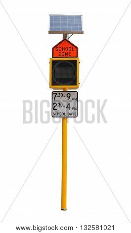 Traffic sign School zone speed limit sign isolated on white background