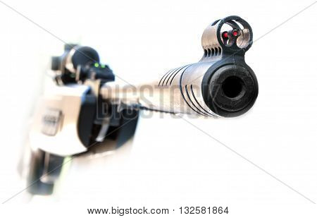 his sights Sniper rifle isolated on white background