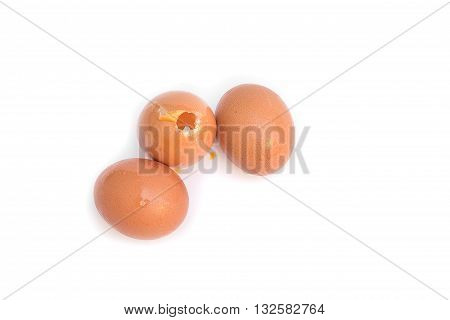 three eggs And One egg chapped. Isolated on white background select focus eggs ( You can paint on there's egg )