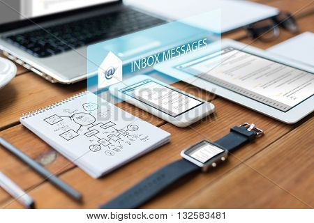 business, internet and technology concept - close up of laptop computer, tablet pc, notebook and smartphone with scheme and inbox messages on wooden table