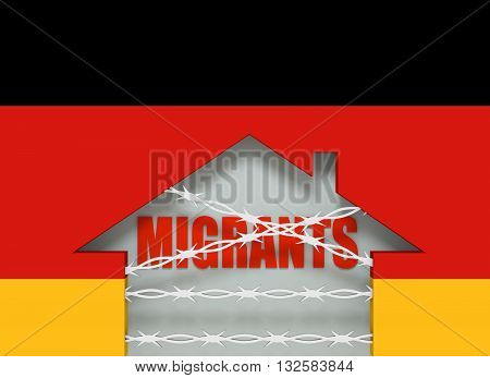 Image relative to migration to European Union. Barbed wire closed home icon textured by Germany flag. 3D rendering