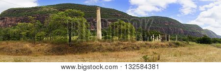 panorama view of Mount Mulligan with ruins of old chimney
