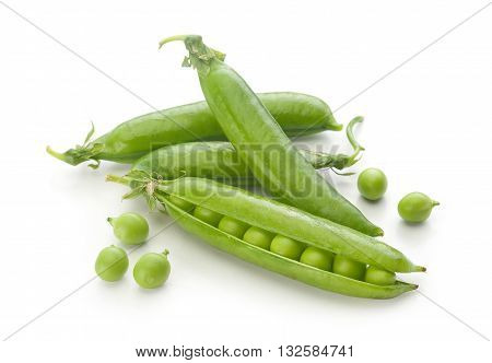 Isolated fresh green pea pods and peas on the white background