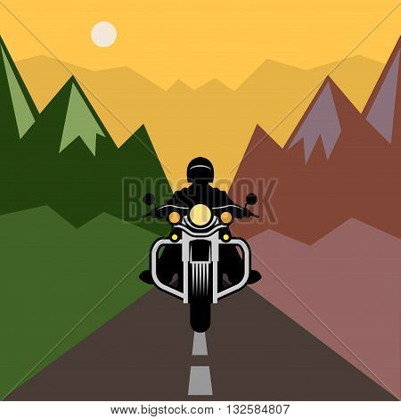Motorcycle adventure poster, country theme, vector illustration