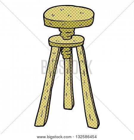 freehand drawn cartoon artist stool