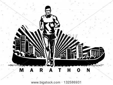 Marathon. Vector sport illustration in the engraving style