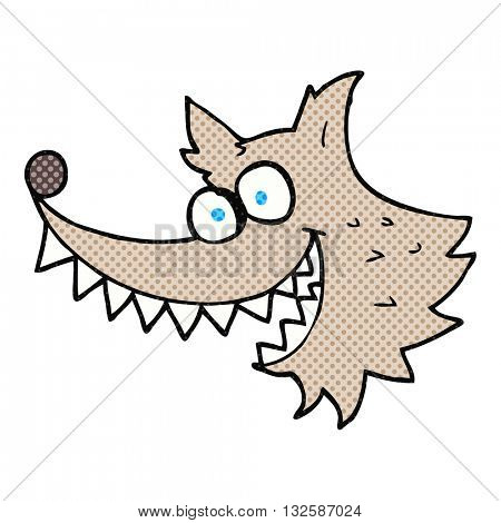 freehand drawn cartoon crazy wolf