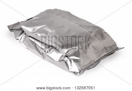 bag from a foil with food cut on the white background