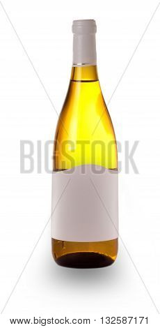 bottle dry light wine cut out on white background
