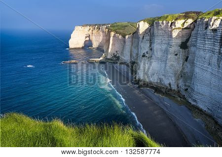 Falaise d'Amont cliff at Etretat Normandy France