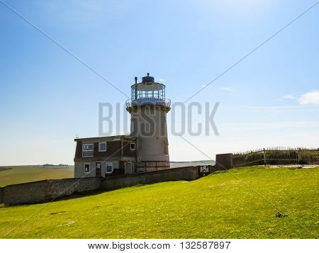 The Belle Tout lighthouse on top of Beachy Head. Eastbourne, East Sussex, England