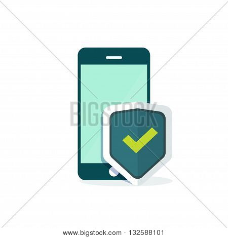 Mobile security protection vector illustration, security smartphone app sign, screen shield flat icon, mobile phone protection guard technology concept, modern emblem design isolated on white