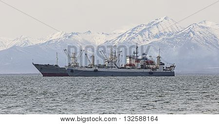 fishing trawler in the Bay on the roads in Kamchatka
