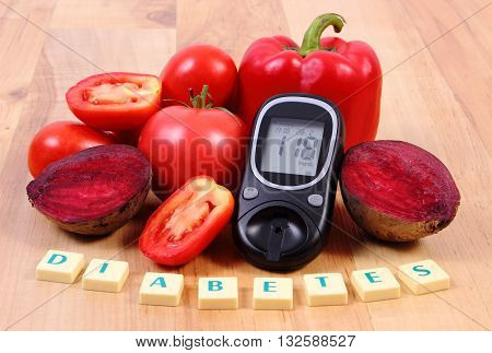 Fresh ripe vetables glucose meter and word diabetes on wooden table healthy lifestyle and nutrition result of measurement of sugar