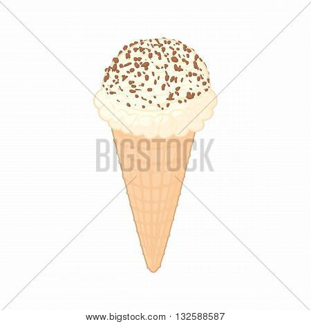 Ice cream with chocolate chips in a waffle cone icon in cartoon style on a white background