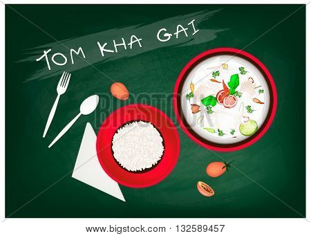 Thai Cuisine Tom Kha Gai or Thai Chicken Spicy and Sour in Coconut Milk with Chickens on Green Chalkboard. One of The Most Popular Dishes in Thailand.