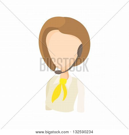 Taxi dispatcher with headset icon in cartoon style on a white background