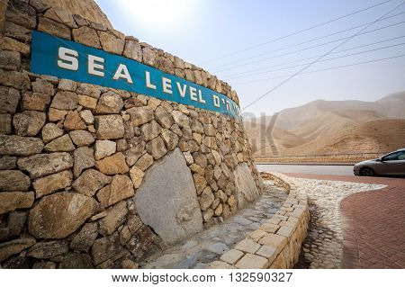 Sea Level Sign Approaching Dead Sea, Israel