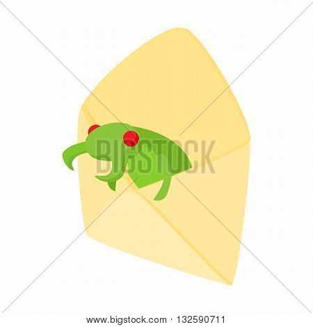 Infected email icon in cartoon style on a white background