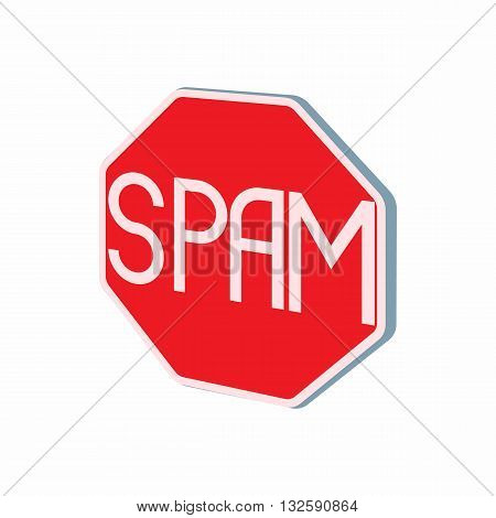 Stop spam sign icon in cartoon style on a white background