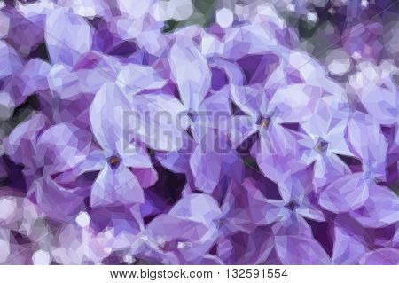 Low poly illustration Fresh beautiful violet lilac flowers close up