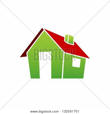 3D green village house with red roof vector illustration isolated on white background.
