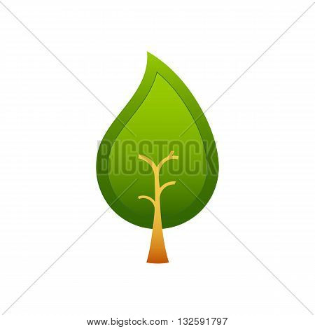 Abstract tree rain drop like vector illustration isolated on white background.