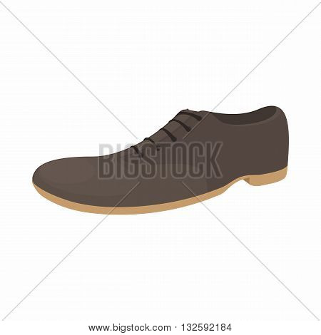 Male brown shoe icon in cartoon style on a white background