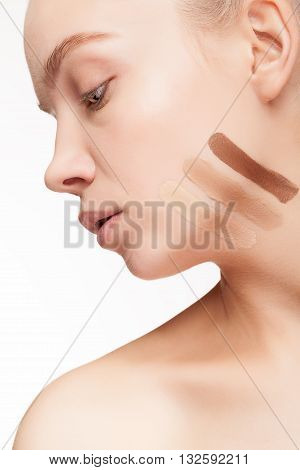 Testing Cosmetic Products. Young Woman Testing Cosmetic Products On Her Skin
