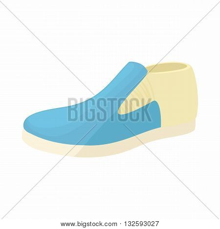 Blue man shoe icon in cartoon style on a white background
