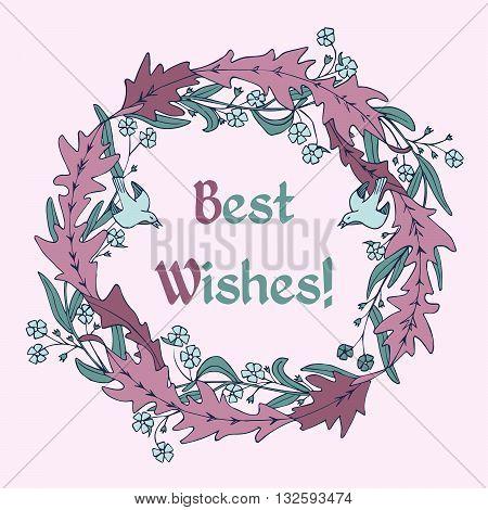 Mauve floral wreath. Vector greeting card