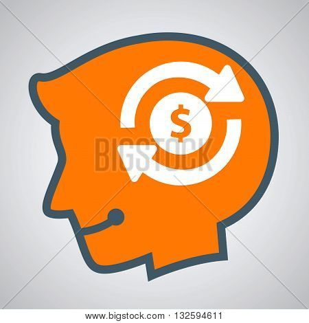 Vector stock of human head silhouette thinking about making money