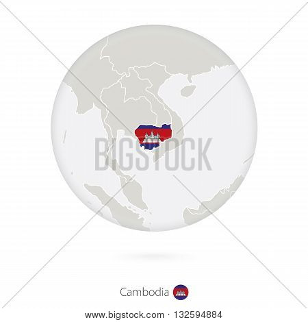 Map Of Cambodia And National Flag In A Circle.