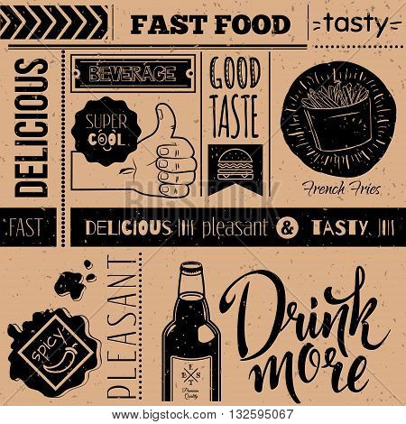 Seamless background with fast food symbols. Menu pattern. Vector Illustration with food lettering and labels on craft paper background. Decorative elements for packing design. Vector illustration. EPS 10