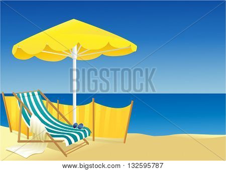 Holiday background with beach and ocean - vector illustration