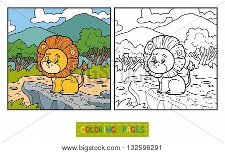 Coloring Book For Children. Little Lion In Africa