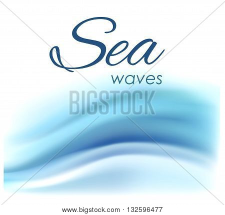 Beautiful blue background of stylized waves on a light background