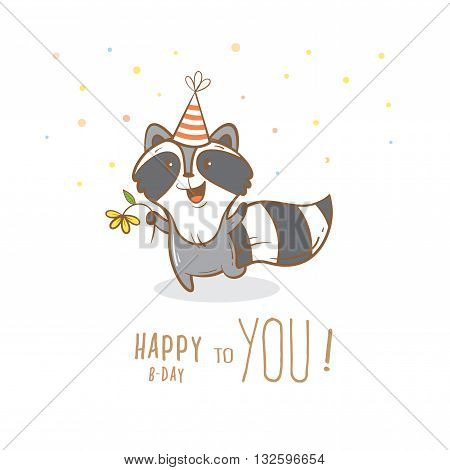 Birthday card with cute cartoon raccoon  in party hat. Little funny animal. Children's illustration. Vector image.