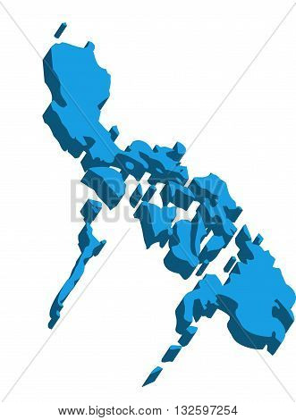 A map of Philippines 3D on white background