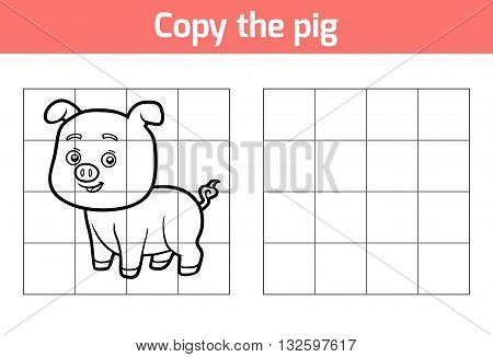 Copy The Picture For Children. Animal Characters, Pig