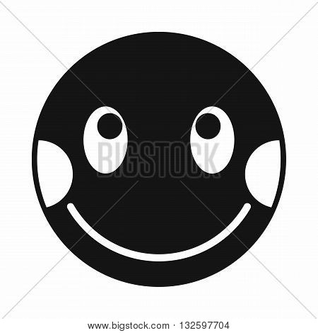 Embarrassed emoticon with flushed red cheeks icon in simple style isolated on white background