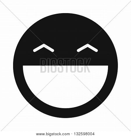Laughing emoticon with open mouth and smiling eyes icon in simple style