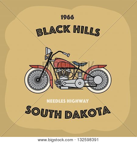 Vintage Motorcycle label with text Balck Hills, South Dakota, vector illustration