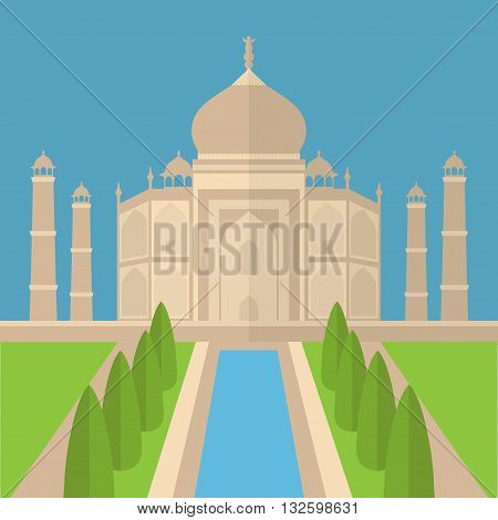 Taj Mahal Temple Landmark in Agra, India. Indian white marble mausoleum, indian architecture flat