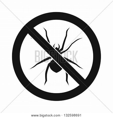 No spider sign icon in simple style isolated on white background