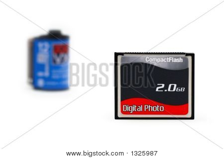 Digital Flash Vs. Film (Isolated On White)