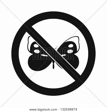 No butterfly sign icon in simple style isolated on white background