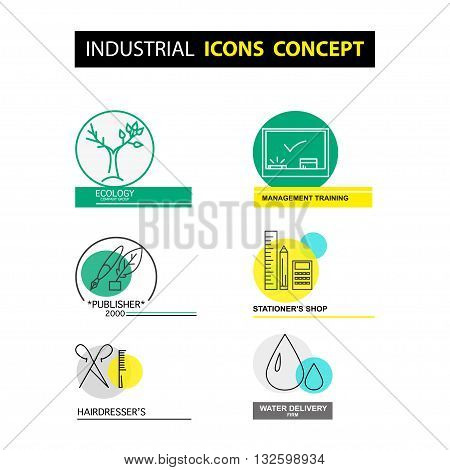 Vector industrial icon concept isolated on white background. Flat icon set logo insignia symbol brand. Artistic collection for class publisher office ecology firm beauty salon shop profession work.